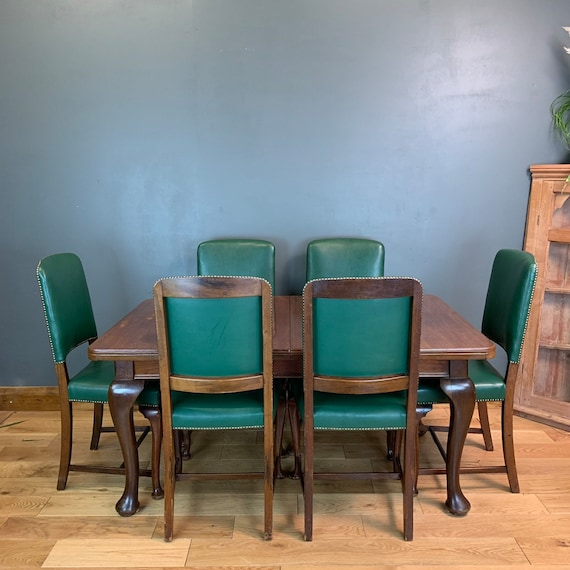 Antique Mahogany Dining Table Edwardian Extending Wind-out 6 Chairs