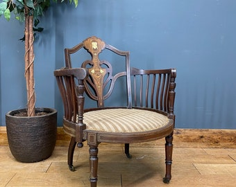Antique Barrel Back Tub Back Chair / Antique Bedroom Chair / Occasional Chair