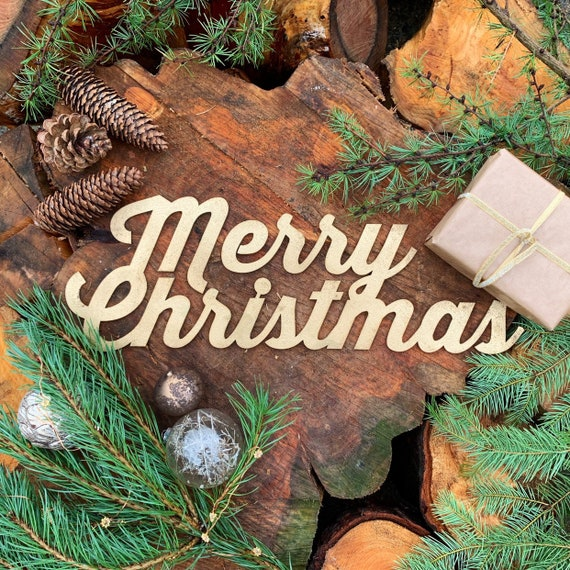 Rustic Gold MERRY CHRISTMAS Lettering Word Plaque Sign Metal Nordic decoration