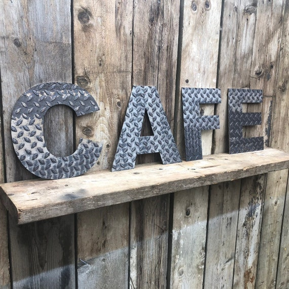 CAFE INDUSTRIAL LETTERING Letters Metal Shop Home Sign Rustic Food Drinks Kitchen Bar