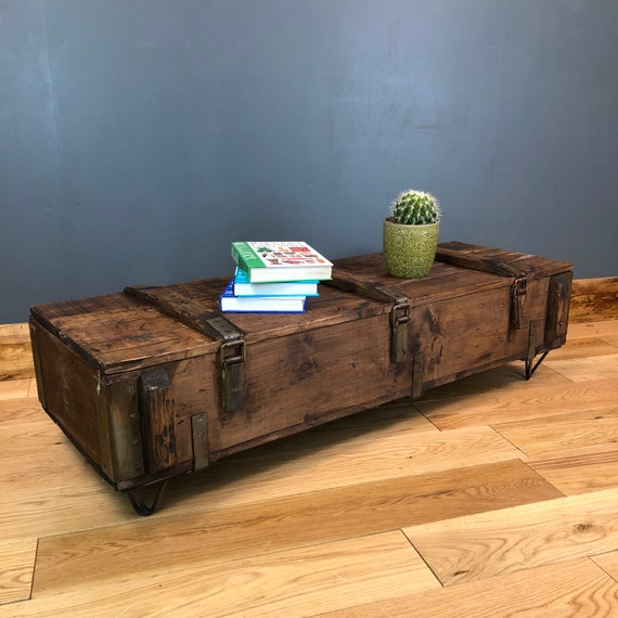 Vintage Trunk Chest Box Rustic Pine Industrial Coffee Table Boho Low Storage