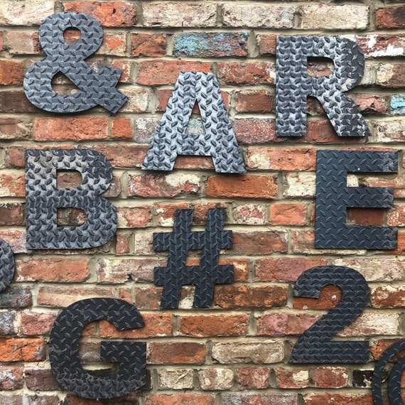 """12"""" INDUSTRIAL RUSTIC letters metal rustic numbers symbols shop sign lettering"""
