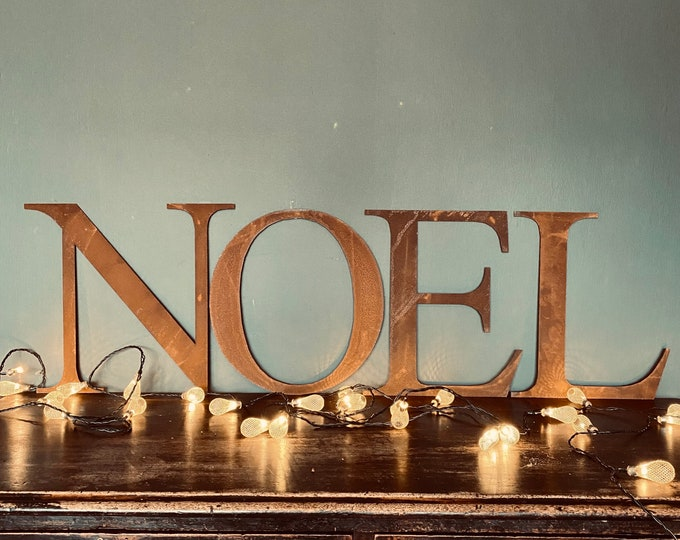 """Christmas Decorations / Rusty Metal Letters / Thin Font 5"""" or 12"""" / Personalised Xmas Decor / Christmas gift for her / gift for him"""