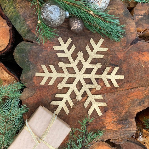 Rustic Shabby Chic GOLD Nordic SNOWFLAKE Sign Metal Shop Christmas decoration