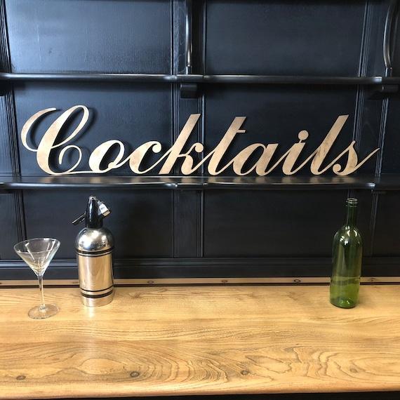 Gold COCKTAILS Lettering Letters Sign Metal Shop Home bar Pub Man Cave Cafe Bar