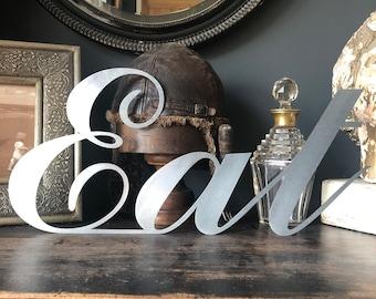 STEEL metal Lettering , EAT SIGN , Vintage Shop  , Rustic Cafe ,  industrial signage , Resturant decor , food sign , vintage kitchen decor