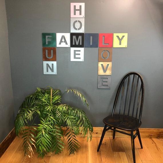 Galvanised Metal Scrabble Letter Tile Wall Decor Art Lettering Personalised V