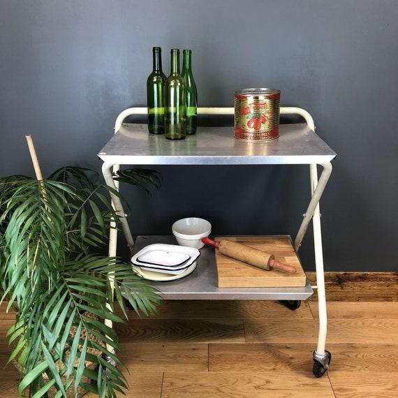 Vintage Medical Fold Up Metal Kitchen Cocktail Trolley Boho Drink Stand