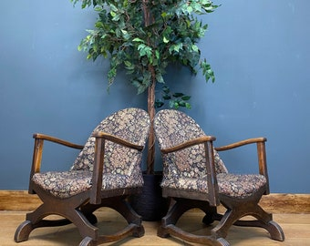 Antique Pair Of Armchairs  / Antique Edwardian Chairs / Upholstered / Art Deco