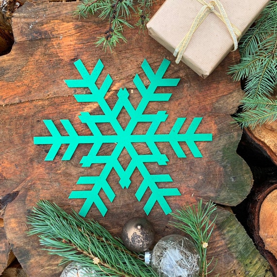 Rustic Shabby Chic GREEN Nordic SNOWFLAKE Sign Metal Shop Christmas decoration