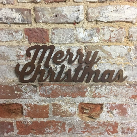 Rusty MERRY CHRISTMAS Sign Metal Shop Home Christmas decoration Ornament Winter Snow
