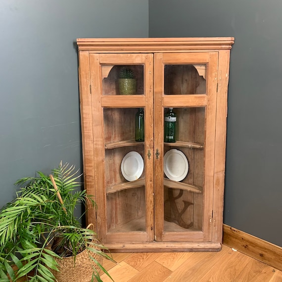 Antique Victorian Old Pine Corner Wall Mountable Glazed Cupboard Storage