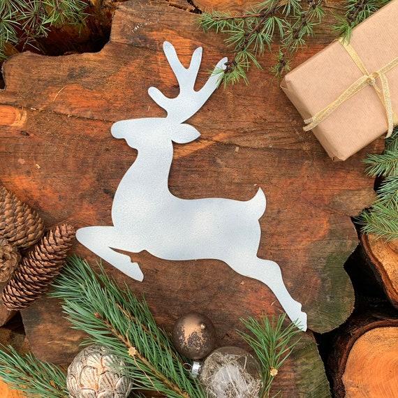 Rustic WHITE REINDEER Christmas deer Sign Metal Plaque Home decoration Nordic Rustic