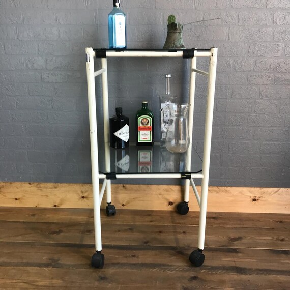 Retro Drinks Gin Trolley Sideboard Vintage Cocktails Retro Glass Metal Shelves