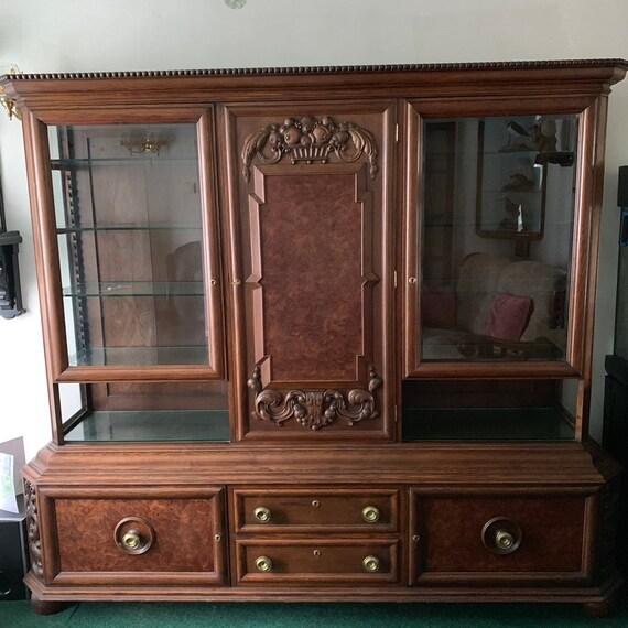 Large Antique German Schrank Oak Display Cabinet Cupboard Dresser Glazed