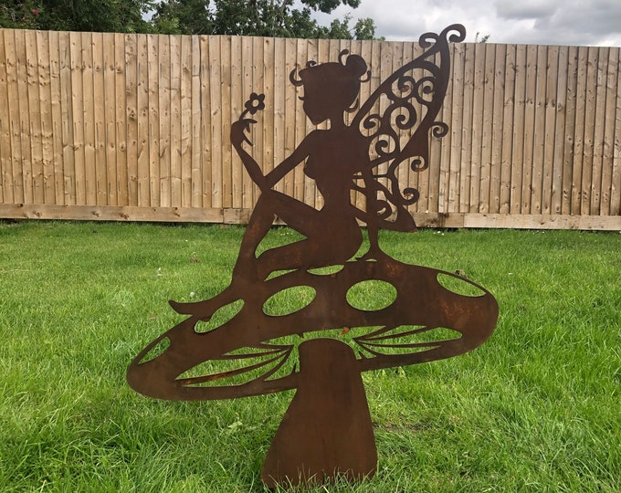 FAIRY ON a TOADSTOOL , large Rusty metal garden decoration , Garden Ornament , garden feature , lawn decoration , garden statue , rustic