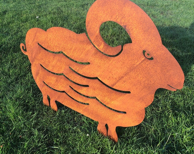 Rusty metal , SHEEP / RAM , garden Sign ,  Home , Garden Ornament , Animal Decoration , statue , lawn , Garden feature