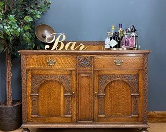 Antique Oak Sideboard / Oak Cocktail Cabinet / Oak Buffet Server / Home Bar