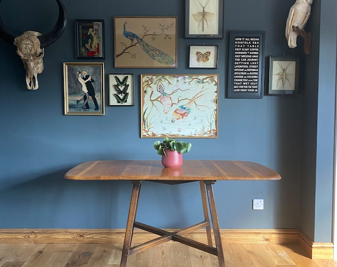 Rare Ercol Table Model 387 /Elm Dining Table /Drop Leaf table /Mid Century Table