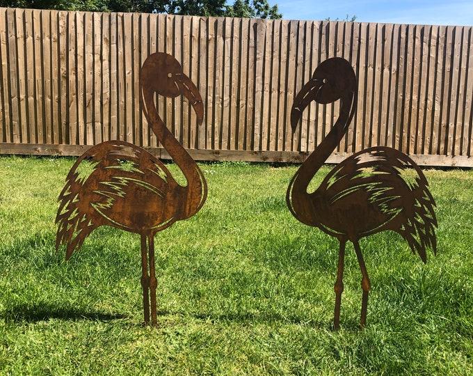 2 Rusty Metal Birds , GARDEN FLAMINGOS ORNAMENTS , flamingo garden feature , garden sign , garden  decoration , lawn feature , rustic decor