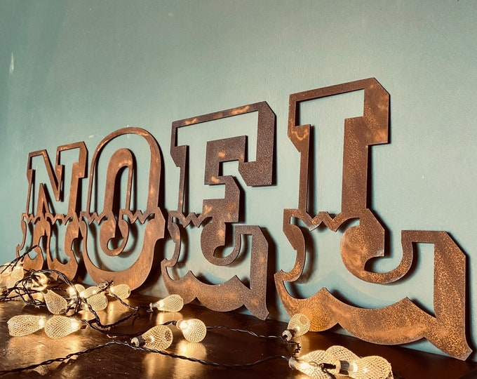 "NOEL Christmas Decorations /Rusty Metal Letters / Carnival Font 12"" /Xmas Decor / Christmas wall decorations / Nordic decor"
