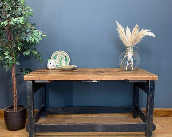 Rustic Old Pine Kitchen island / Long Kitchen Workbench / Rustic Console Table