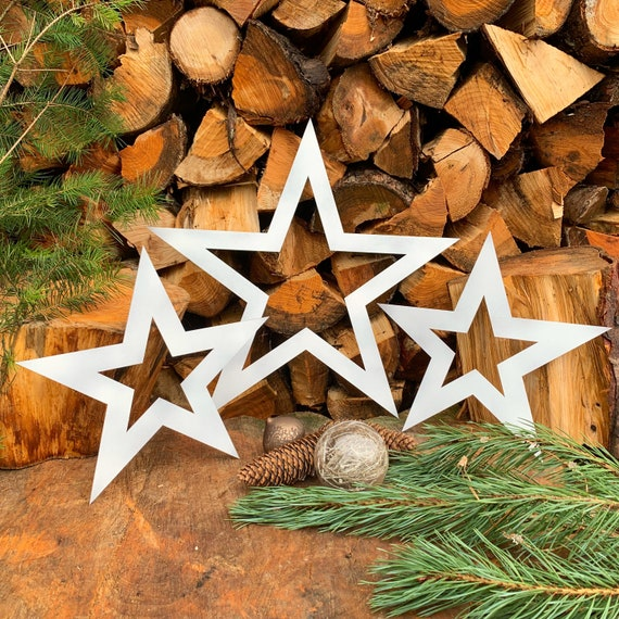 Rustic 3 X white STARS mantle CHRISTMAS SHAPE Sign Metal Nordic decoration