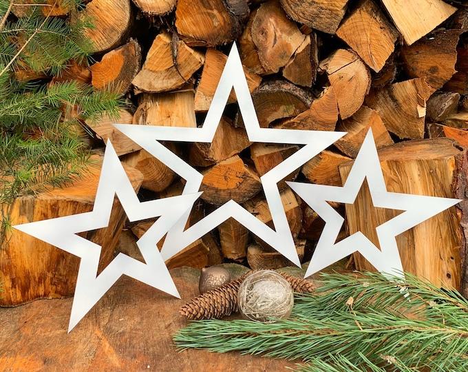 Rustic 3 X white metal STARS ,  mantle ornament , CHRISTMAS decoration , shabby chic decor , distressed barn stars ,