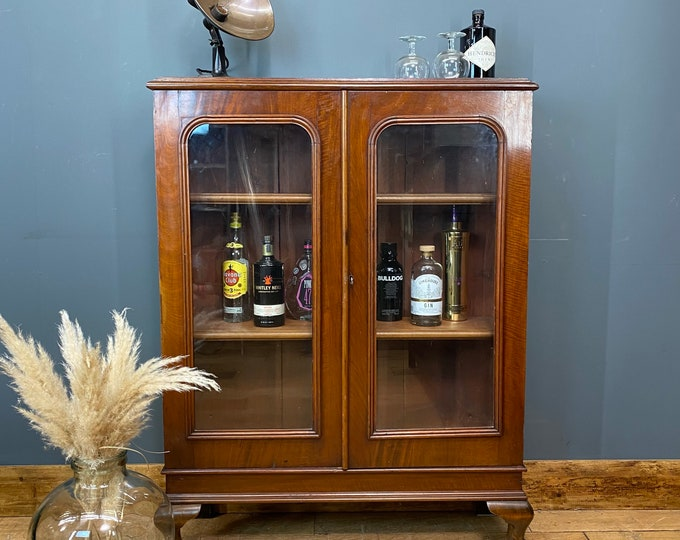 Antique Mahogany Bookcase / China Cabinet /Display Cupboard / Drinks Cabinet /