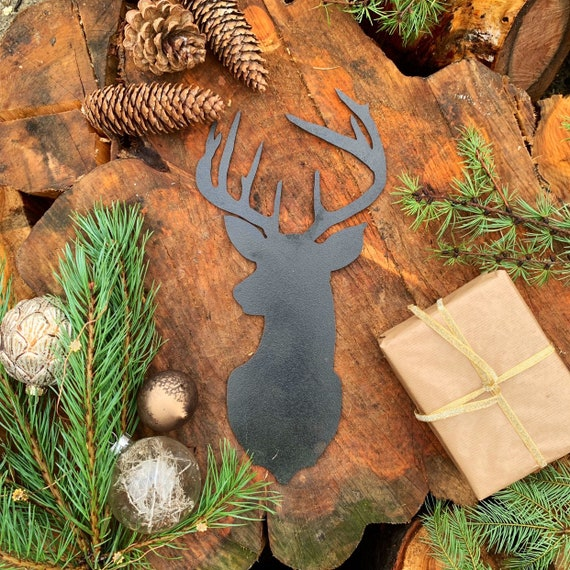 Rustic BLACK STAGS HEAD Metal Christmas Decoration Antlers Sign Metal Shop Home