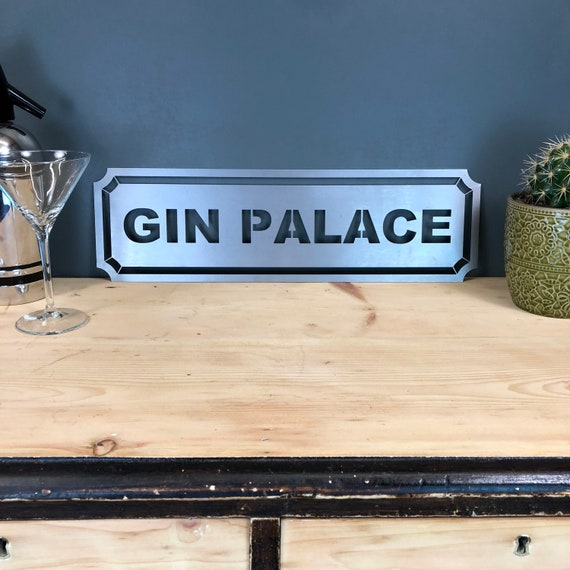 Steel GIN PALACE Word Sign Metal Shop Home Rustic Pub Cafe Bar Cocktails Drinks
