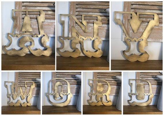 "A-Z Rustic 5"" or 12"" gold metal alphabet letters, lettering, barbers, bar, coffee shop, eat numbers home gin shop FAIRGROUND CARNIVAL"