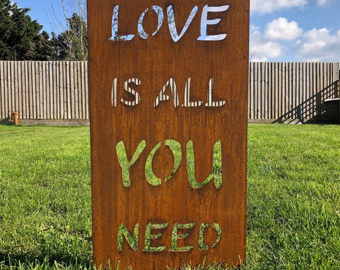 All You Need Is LOVE Garden sign / rusty metal / lawn decor / garden ornament  / flowerbed decoration / garden lover gift / plant sign