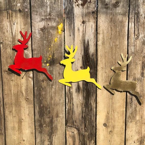 Rustic REINDEER Sign Metal Shop Home Christmas decoration Ornament Winter Snow