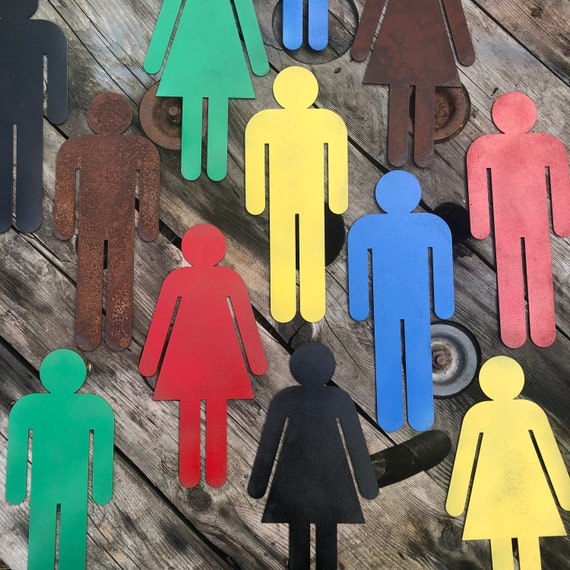 Rustic colourful MAN OR LADY Toilet Bedroom wall door signs Ladies Gentlemen gents