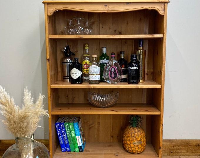 Vintage pine Bookcase / Rustic Shelving Unit / Drinks Cabinet /  Display unit