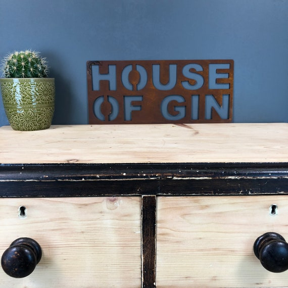 Rusted HOUSE OF GIN Sign Metal Shop Home Rustic Pub Cafe Bar Cocktail Drinks Rum