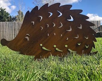 Garden hedgehog / rusty metal hedgehog/ garden lawn decor / garden ornament / garden statue / garden feature / garden ornament