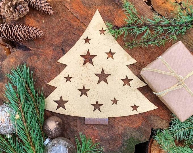Rustic GOLD CHRISTMAS TREE decoration ,