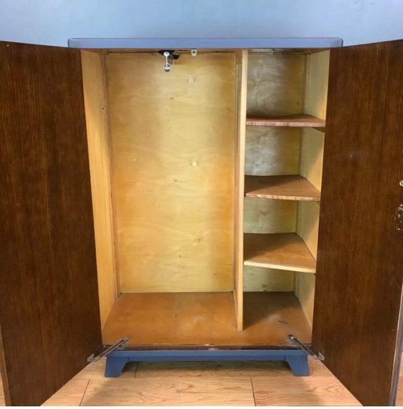 super popular 1d3db de80c Vintage Painted Upcycled Wardrobe Cupboard Shelves Storage Distressed  Blue/grey