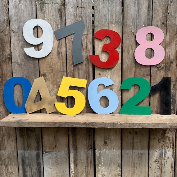 "5"" and 12"" BRIGHT funky coloured HOUSE NUMBERS  shop signage, initials,name, lettering, industrial, vintage, home, love,"
