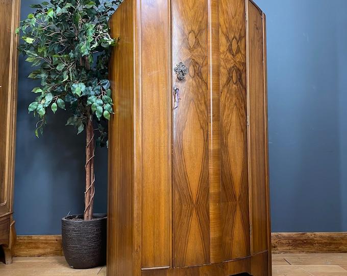 Art Deco Style Wardrobe/ Walnut Wardrobe/ Antique Cupboard /Bedroom Storage