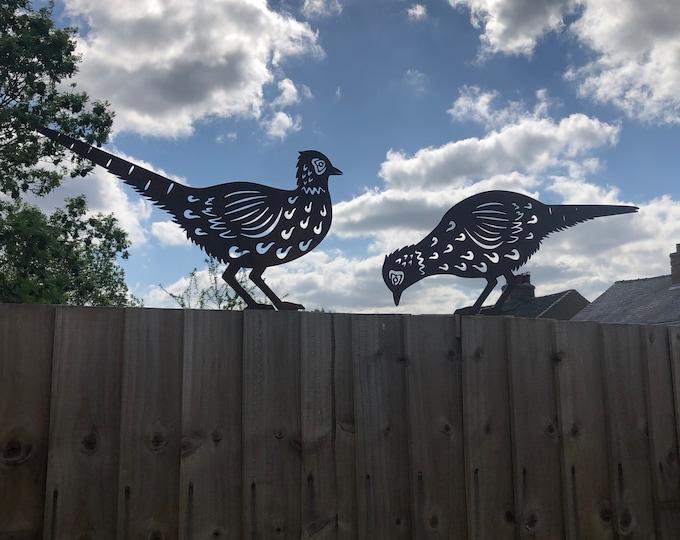 2 Rusty Metal BIRDS , Garden ORNAMENTS , animal silhouette , garden sign , garden  decoration , lawn feature , PHEASANTS