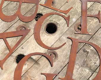 """Rusty 5"""" or 12"""" thin font metal alphabet letters shop signs, initials, house name, lettering, rusted, industrial, vintage, numbers, garden ,"""