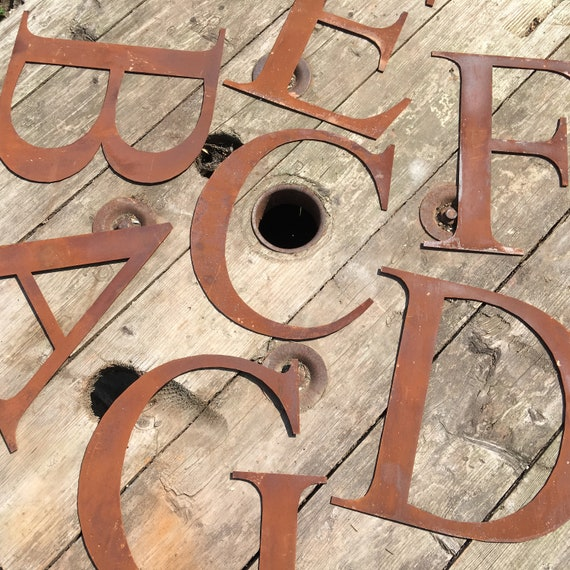 """Rusty 5"""" or 12"""" thin font metal alphabet letters shop signs, initials, house name, lettering, rusted, industrial, vintage, numbers, pub, bar"""