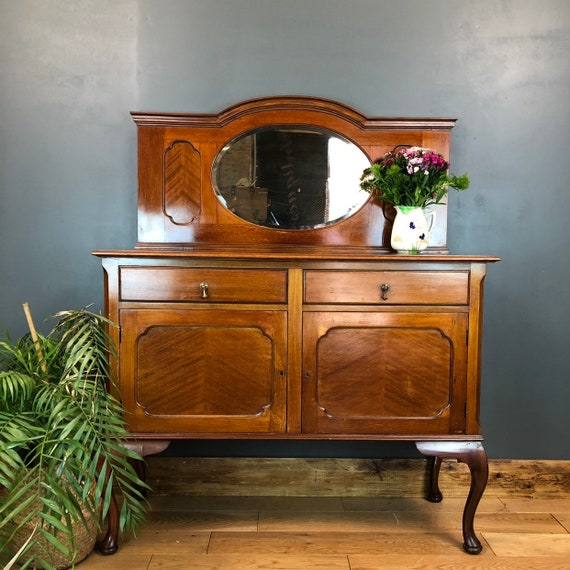 A Antique Sideboard Buffet Server Mirror Mahogany Cabinet Cupboard Drawers