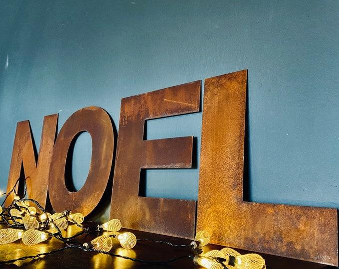 "NOEL Christmas Decorations /Rusty Metal Letters / Fat Font 12"" /Xmas Decor"