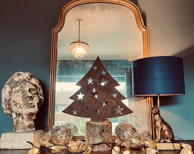 Christmas Tree Decoration /Freestanding Metal Christmas Tree/ Nordic Xmas Decor / small Christmas tree / vintage style tree