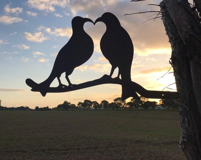 Rusty Metal LOVE BIRDS on a branch Garden feature ,  garden sign , garden birds decoration , rustic garden decor , lovebirds