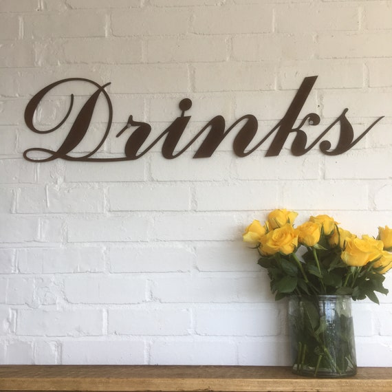 Rusty DRINKS Lettering Letters Word Sign Metal Home bar Pub Wedding cafe Shop